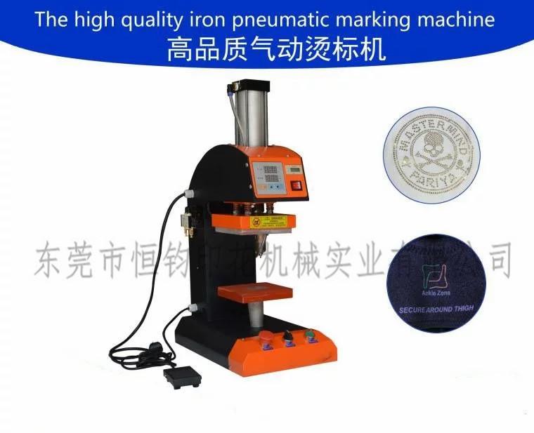 恒钧厂家直销气动单工位手动烫金机商标 压烫机小型烫唛机烫标机