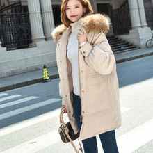 Winter new fashion temperament solid color hat collar braid hair large pocket loose down jacket
