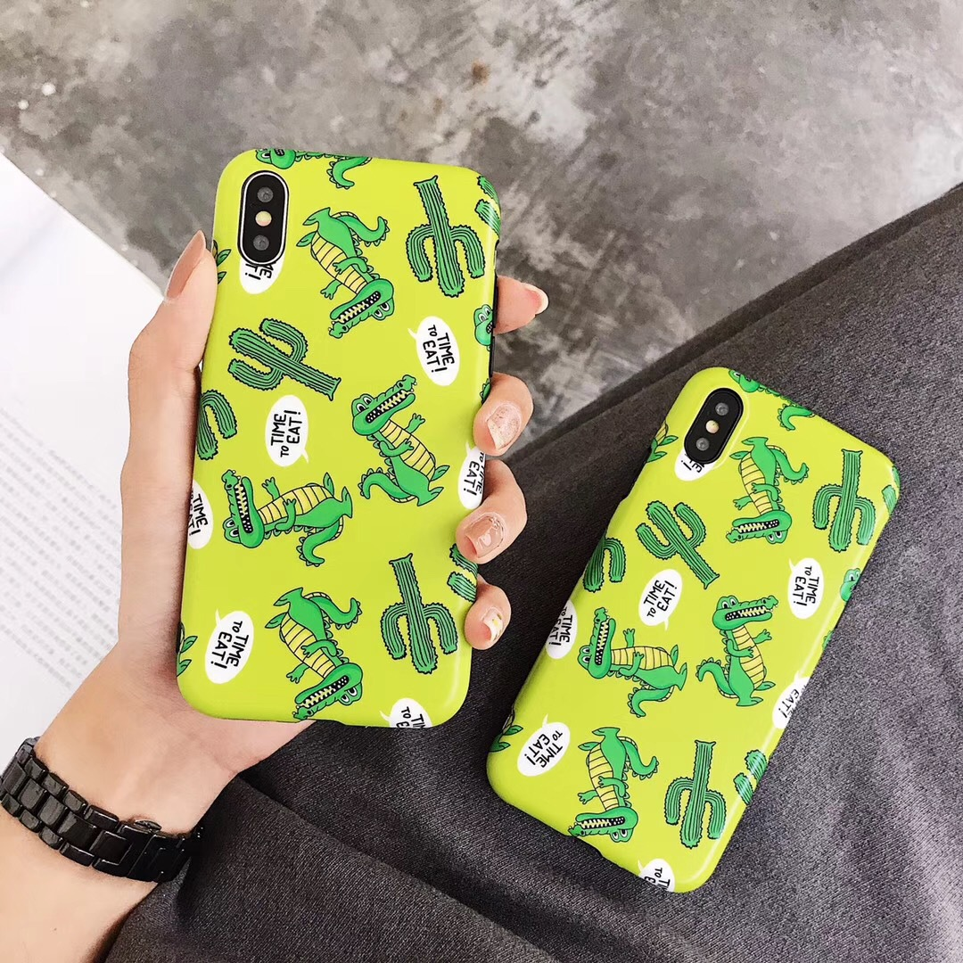 Ins net red cute green small dinosaur apple x mobile phone shell iPhone7 silicone sleeve 6splus creative 8 female models