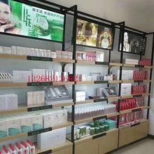 厂家专业定制钢木化妆品货架展示架 护肤产品陈列架 带灯箱展示架