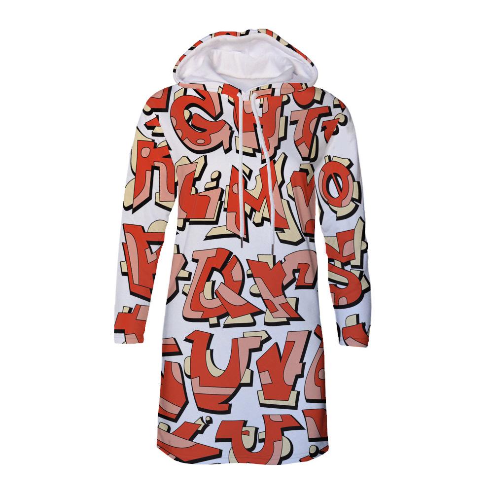 时尚秋冬女装 字母图案热转印印花女连帽卫衣连衣裙厂家批发