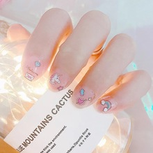Cute cartoon unicorn nail sticker Harajuku small fresh soft sister beautiful girl Sakura nail sticker pink leopard nail sticker