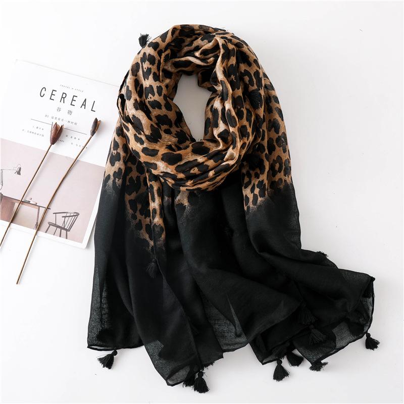 Mantón largo de doble uso con estampado de leopardo y estampado de leopardo para mujer chal de doble uso NHGD171727