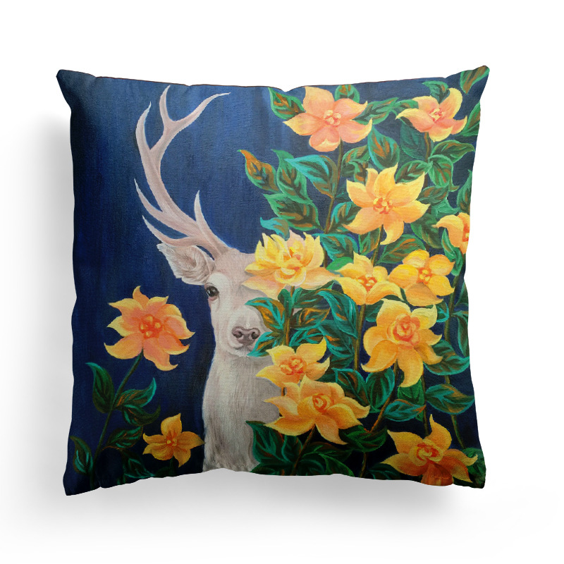 Bz028 Amazon Hot Sale Home Soft Decoration Sofa Cushion Christmas Nordic Elk Art Simple Pillowcase