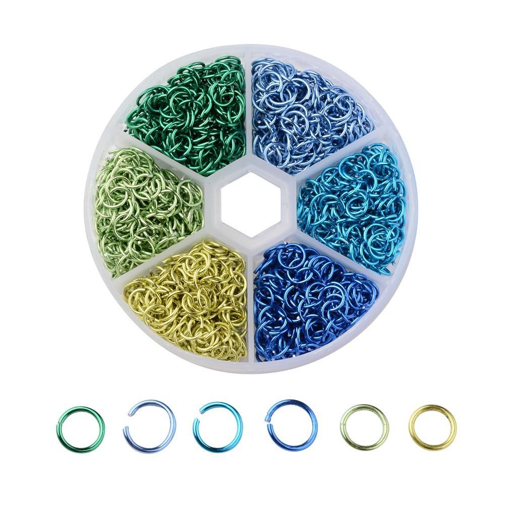 跨境热销爆品6mm铝圈 彩色混款套装开口圈 手工diy饰品配件单圈
