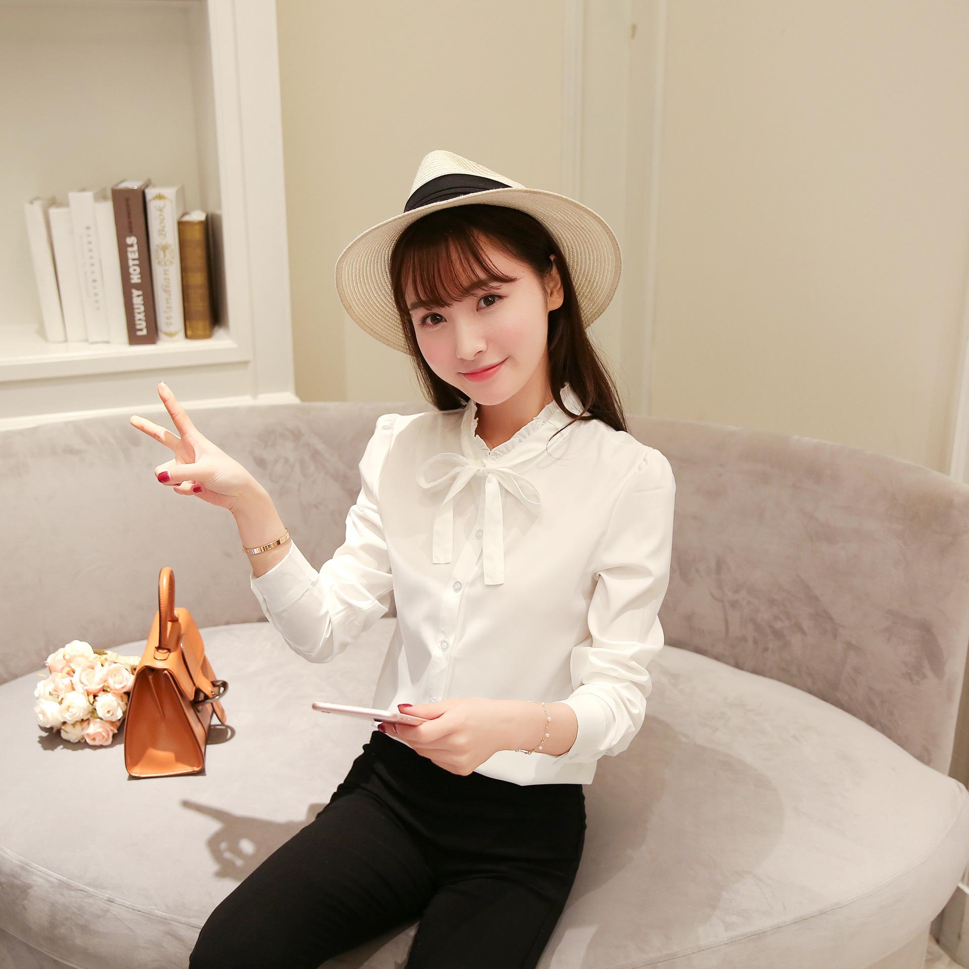 2018秋季新款衬衫女韩版蝴蝶结系带长袖学生小清新白色上衣潮