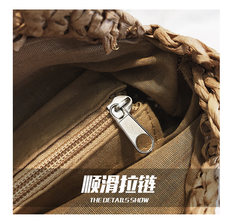 New Straw Bag Small Round Bag Summer Beach Woven Shoulder Handbag Simple Messenger Bag NHGA200616