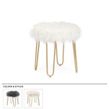 梳妆滩羊毛化妆凳换鞋凳进口羊毛梳妆椅?#21672;?#38271;毛凳子椅子卧室凳