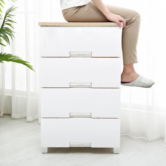 抽屉式收纳柜子 客厅卧室环保四斗储物柜 免漆床头柜四层整理柜