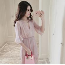 孕妇2018新款雪纺连衣裙时尚V领女装气质清纯夏季韩版孕妇裙