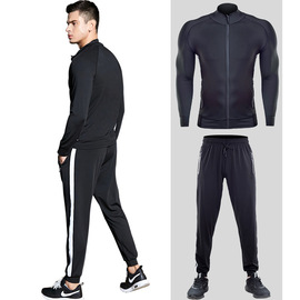 New sportswear suit men's elastic quick-drying training running two-piece black jacket fitness suit winter