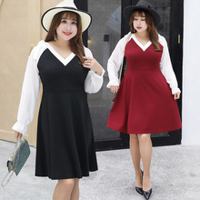 Autumn and winter new increase fat plus extra large size women's fat sister dress gentle wind skirt 1461