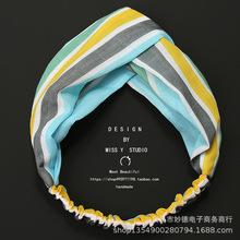 韩国新款绿色文艺条纹撞色宽边交叉发带复古雪纺印花松紧发箍发饰