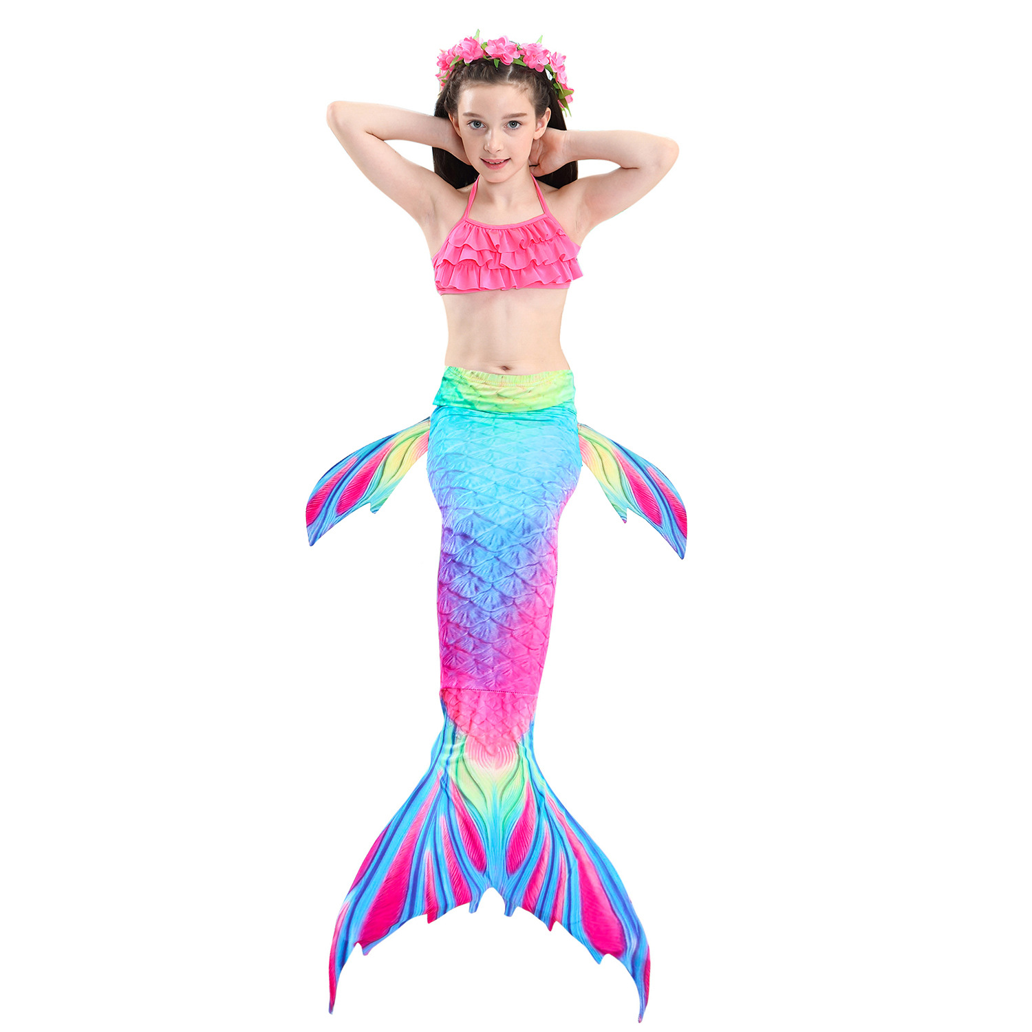 9314587888 898390851 - 4PCS/Set HOT Kids Girls Mermaid Tails with Fin Swimsuit Bikini Bathing Suit Dress for Girls With Flipper Monofin For Swim