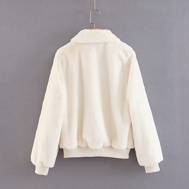 Polyester Fashion  coat  (White-S) NHAM6199-White-S