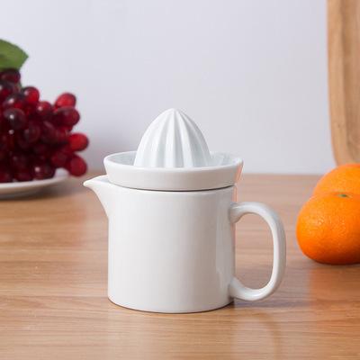 創意家居廚房用品 迷你家用水果檸檬榨汁器榨汁杯 陶瓷手動榨汁機