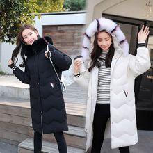 2018秋冬新款韩版中长款羽绒服女士连帽貉子毛领修身时尚通情外套