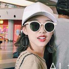 新款复古白色小框偏光太阳镜 张大奕同款圆形墨镜圆脸太阳眼镜