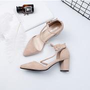 2018春夏新款时尚欧美女鞋尖头绒面粗跟凉鞋扣带跟鞋单鞋女