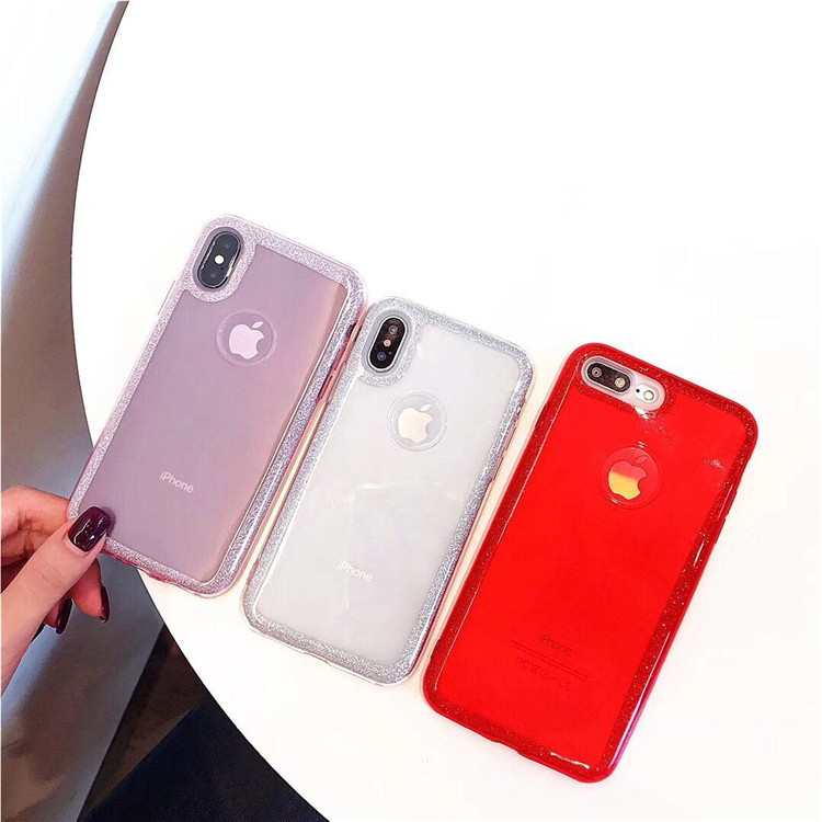 All-inclusive protective shell Apple 7plus fashion glitter luxury two-in-one iphoneX 8g solid color glitter border