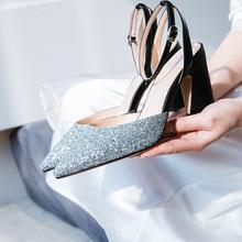 2018新款婚纱鞋女结婚鞋子高跟鞋婚礼新娘鞋一字扣西式婚鞋粗跟