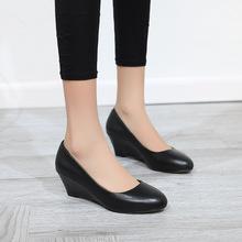 简约百搭浅口四季单鞋牛皮圆头中跟职业工作鞋舒适坡跟真皮女鞋