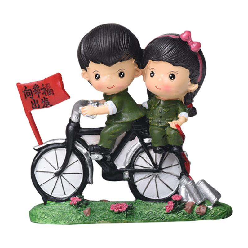 骑单车红军树脂摆件 创意家居装饰品桌面小摆件卡通装饰车载娃娃