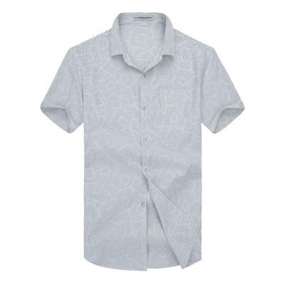 爸爸衬衫男2018夏季薄款中年男士短袖寸衫中老年宽松休闲衣服衬衣