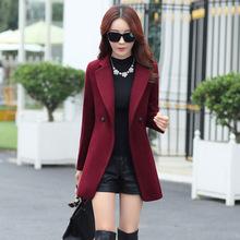 冬毛呢小外套女秋30岁40矮个子呢子中款西装韩版收腰款妮子大衣装