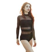厂家定性感露背黑丝舞蹈服人形体练功服女弹力亮面紧身连体衣舞蹈