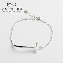 韩版韩国风S925纯银十字架女式手链 精工时尚潮流个性简约气质