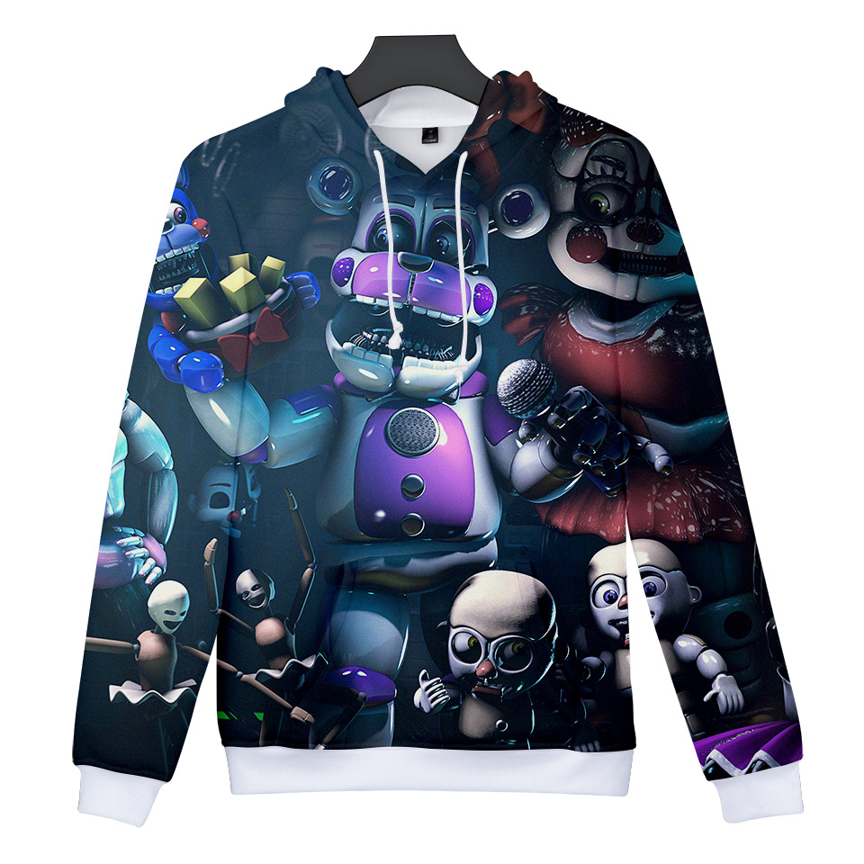 Kids FNAF Five Nights at Freddys 3D Boys Girls Hoodies Sleeved Sweater Pullover
