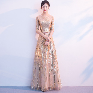 Golden evening dress female 2021 new long style elegant and thin party lady host chorus dinner dress