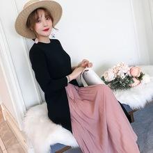 2018年秋冬季新款韩版孕妇装外出哺乳长款连衣裙 哺乳装
