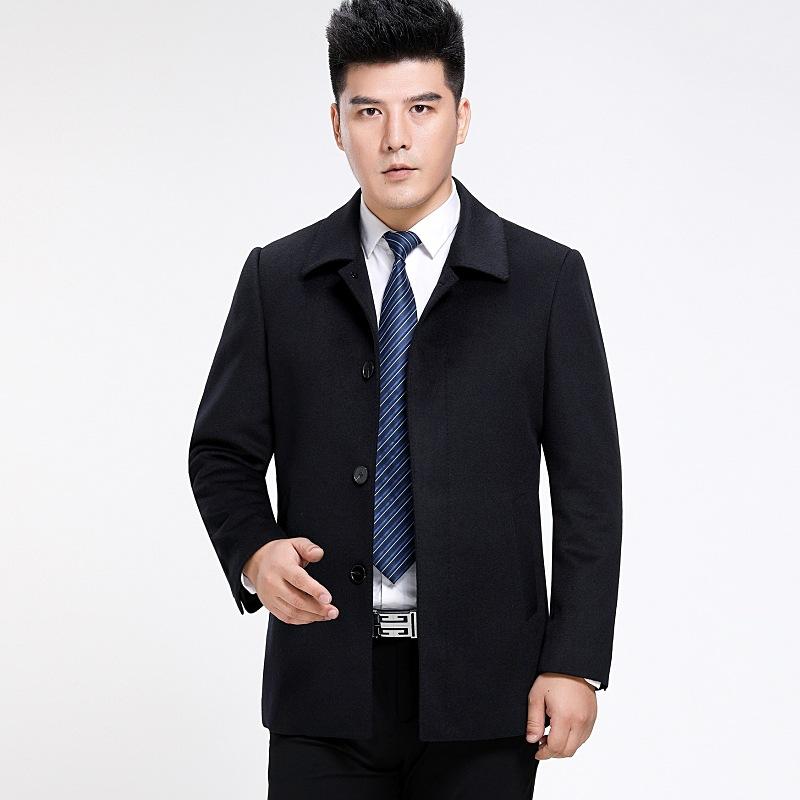 品牌男装专柜正品短款大衣羊绒外套2018 冬装新款高档翻一件代发