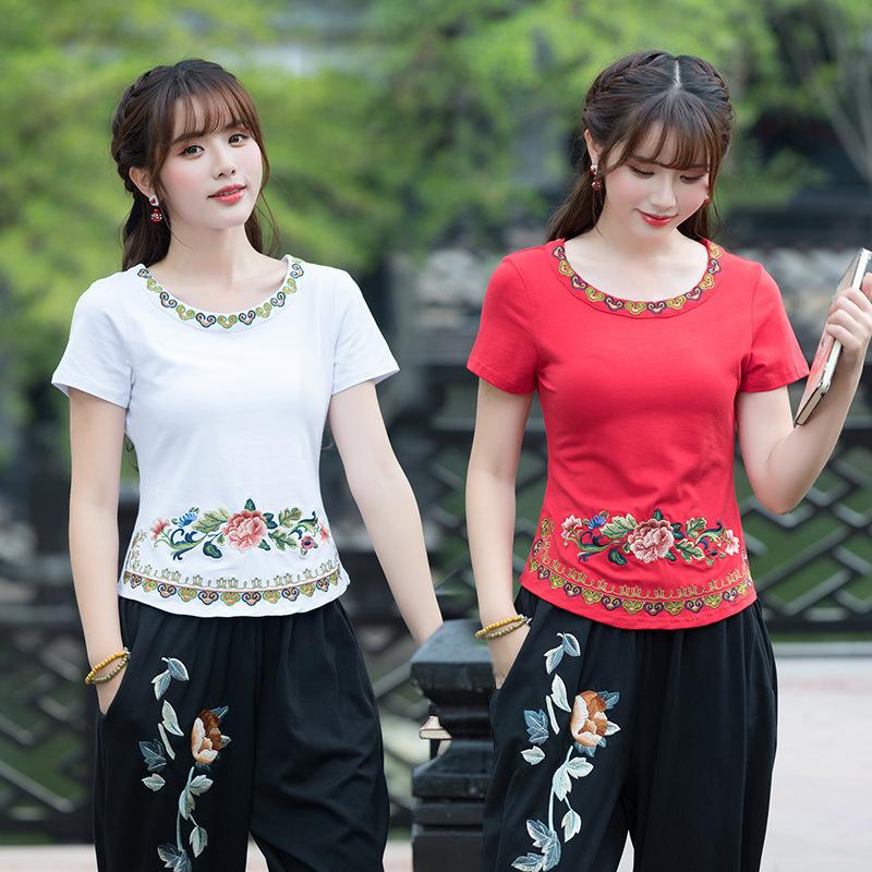 菲米娜2018夏装新款 短袖绣花T恤女 中国风女装 显瘦上衣D8723