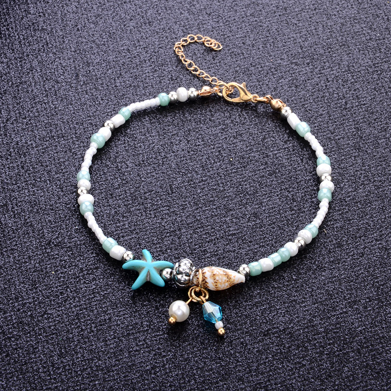 Statement Starfish Anklet Conch Foot Chain Bohemian Beach Elastic Bead String YG