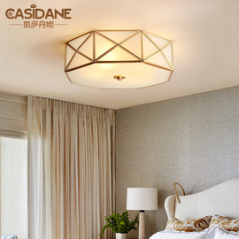 All copper American ceiling lamp country home modern minimalist living room lamp study lamp bedroom lamp led lamp 1248