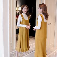 孕妇装2018秋装新款韩版时尚针织毛衣孕妇连衣裙两件套套装背带裙
