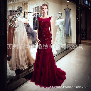 Banquet dress wine red dress host annual party dress birthday dress sisters party dress 94709