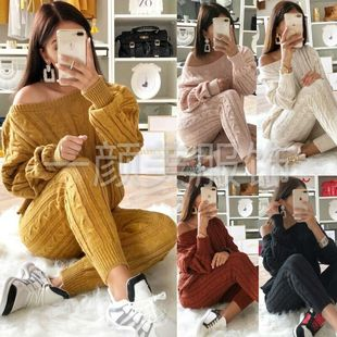2018wish new European and American fashion solid color suit sweater