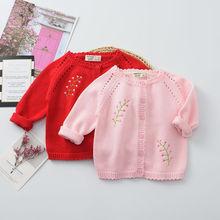 2019春款童裝針織衫兒童針織開衫 新款韓版女童毛衣針織毛衣定制