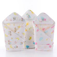 婴幼儿纯棉纱布带帽抱被 新生儿包被现货直销纯棉秋冬宝宝抱被