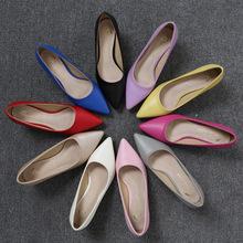 职业高跟鞋女礼仪尖头浅口单鞋超纤黑色中跟细跟ol空姐正装工作鞋