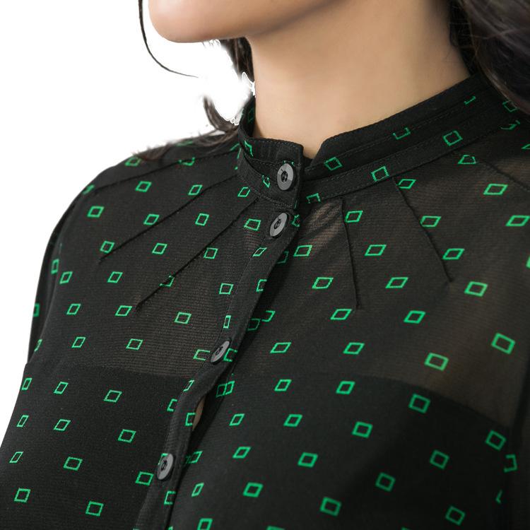 新款女式欧洲站大码网纱衬衫女长袖 弹力OL通勤中领衬衫印花