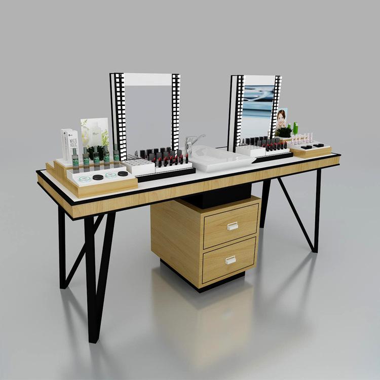 新品化妆品店彩妆体验台 全套定制化妆品柜台创意口红展示柜木质