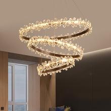廠家直銷北歐后現代圓環簡約LED水晶吊燈創意鐵藝水晶LED餐廳吊燈
