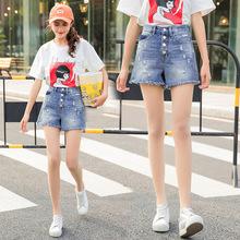 2018夏季新款韩版毛边破洞个性时尚牛仔短裤女学生热裤厂家直销