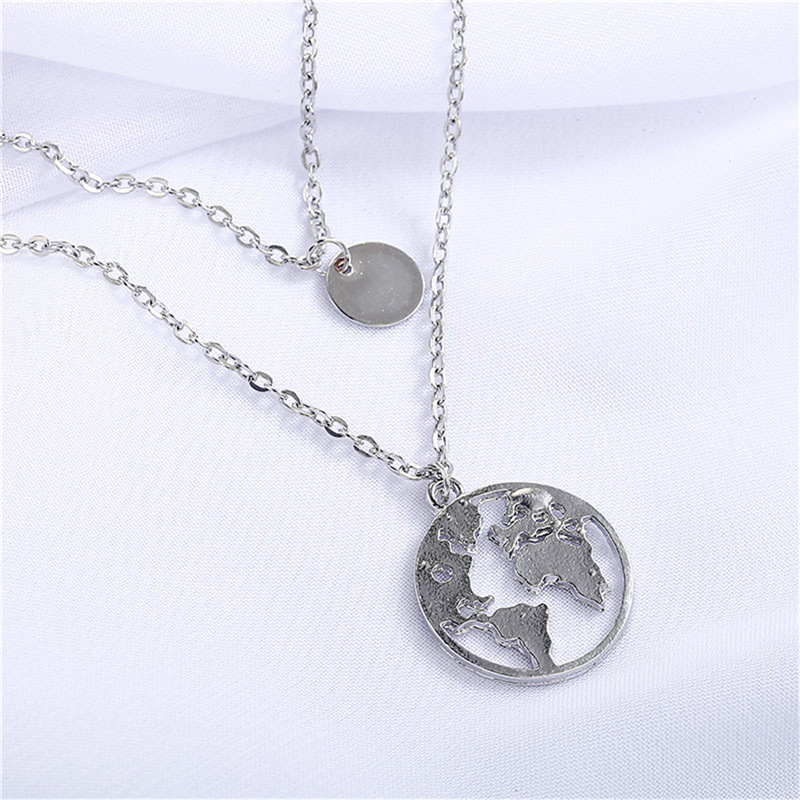 New round world map alloy necklace NHPF151522