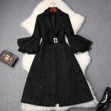 2018冬季女装新款西装领镶钻蝴蝶结显瘦粗花呢百搭大衣外套T9268